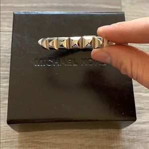 Micheal Kors Silver and Leather Bracelet.